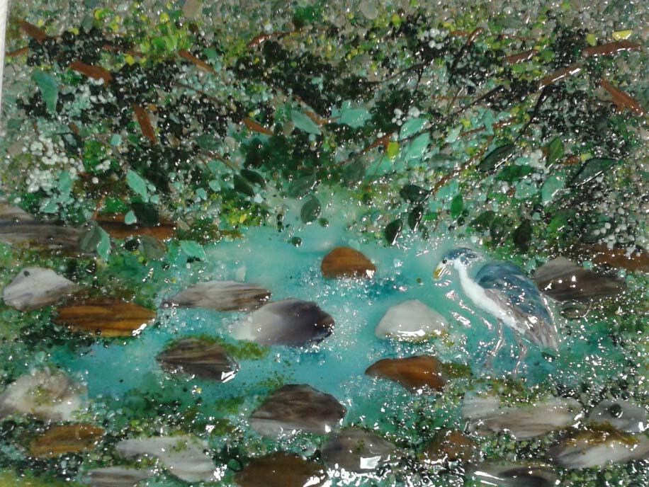 Blue Heron Stream Scene