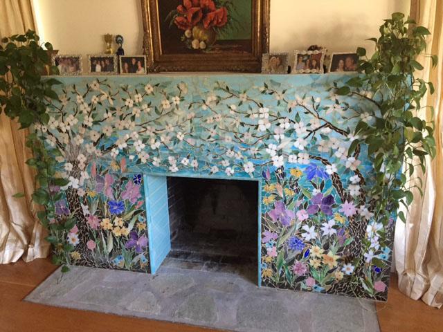 Mosaic Fireplace Surround Dogwood Motif Designer Glass