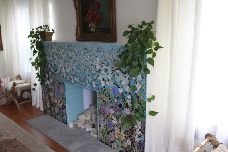 Mosaic Fireplace Surround Dogwood Motif Designer Glass Mosaics