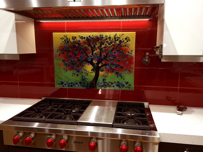 """Glass """"Olive Tree"""" Mural"""