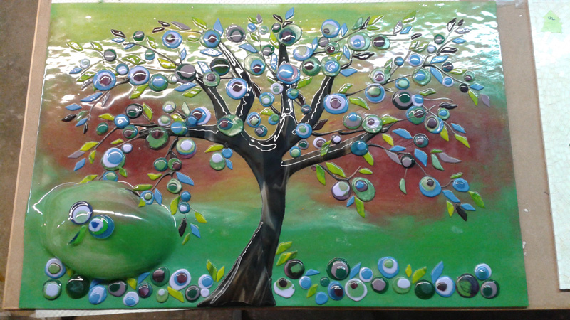 Funky Tree Man Glass Mural