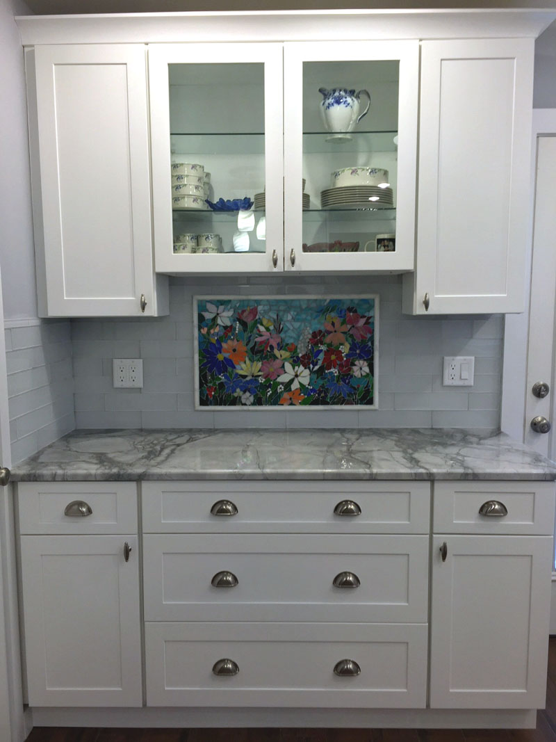 floral mosaic kitchen backsplash designer glass mosaics designer custom kitchen backsplash mural with a floral design hand crafted for our client in new york dimensions are 17 x 28 we added a few fused glass design