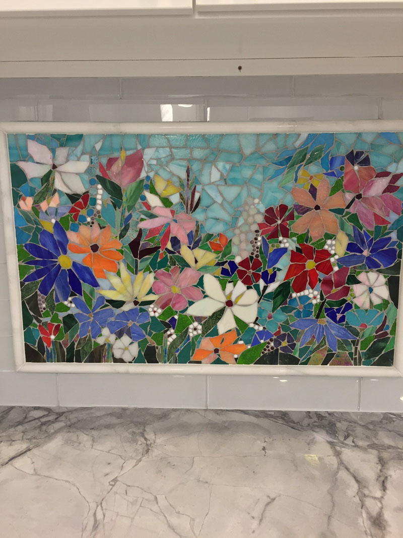 Floral Mosaic Kitchen Backsplash | Designer Glass Mosaics
