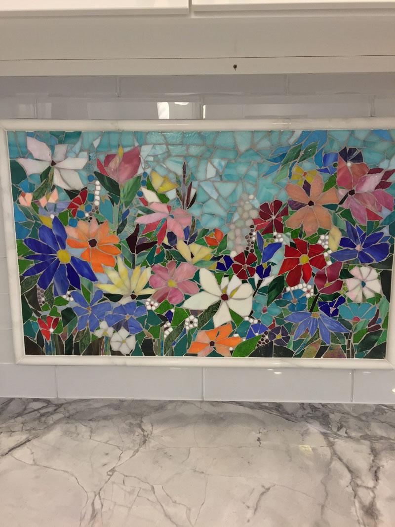 Floral mosaic kitchen backsplash designer glass mosaics - Mosaic designs for kitchen backsplash ...
