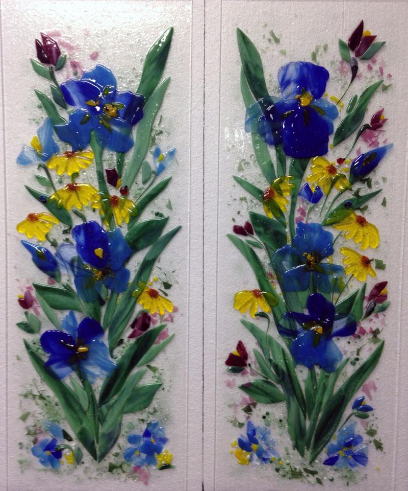 Fused Glass Cabinet Panels – Blue Irises