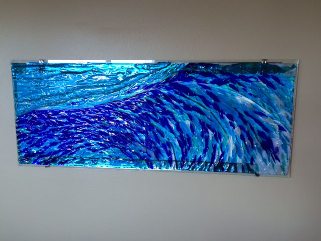 Fused Glass Quot Wave Quot Mural Designer Glass Mosaics