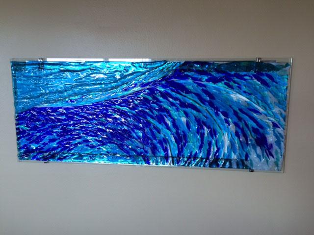 Fused Glass Quot Wave Quot Mural Designer Glass Mosaics