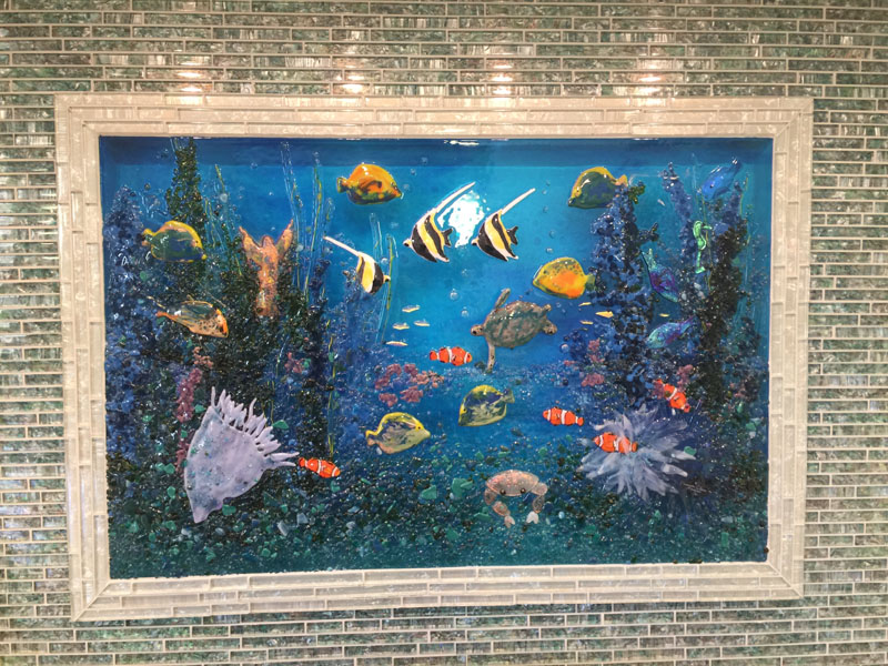 Glass Underwater Mural for Kitchen