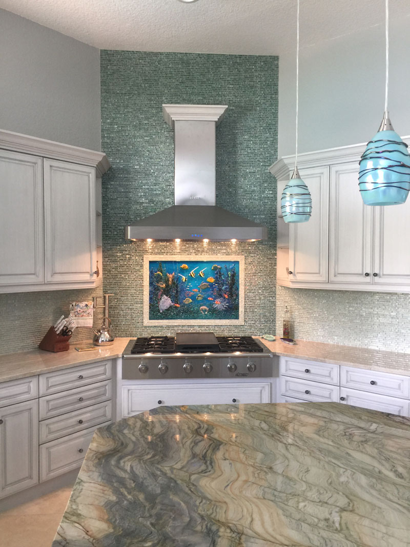 Glass Underwater Mural For Kitchen