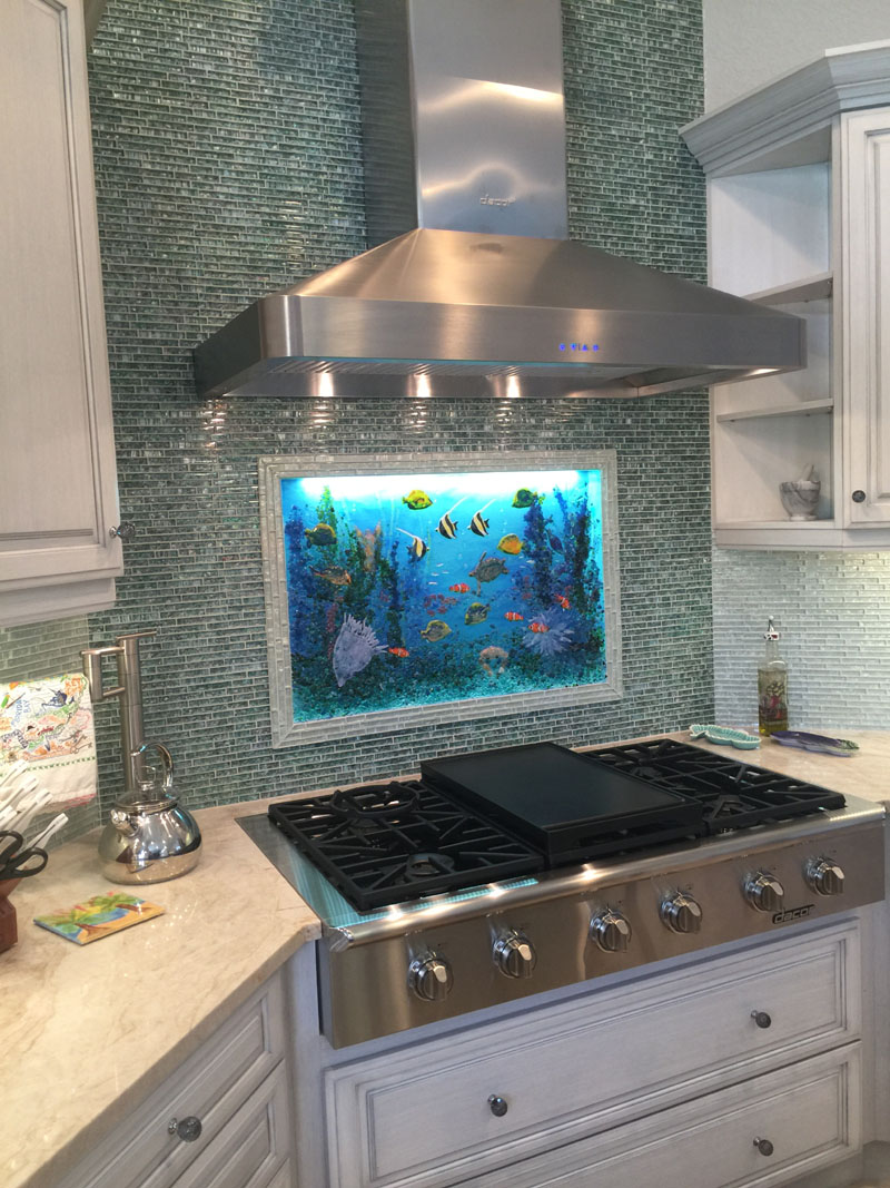 Glass Underwater Mural for Kitchen | Designer Glass Mosaics
