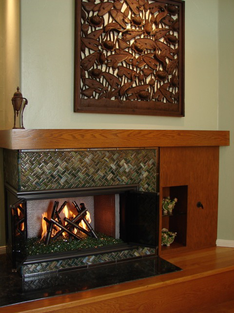 Glass Bamboo Fireplace Surround Designer Glass Mosaics