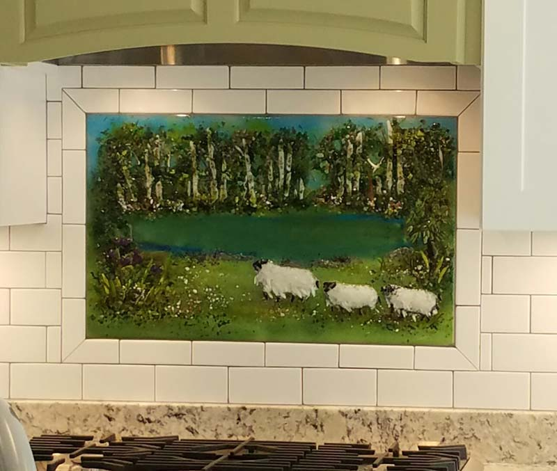 Kitchen Backsplash – Pond & Sheep