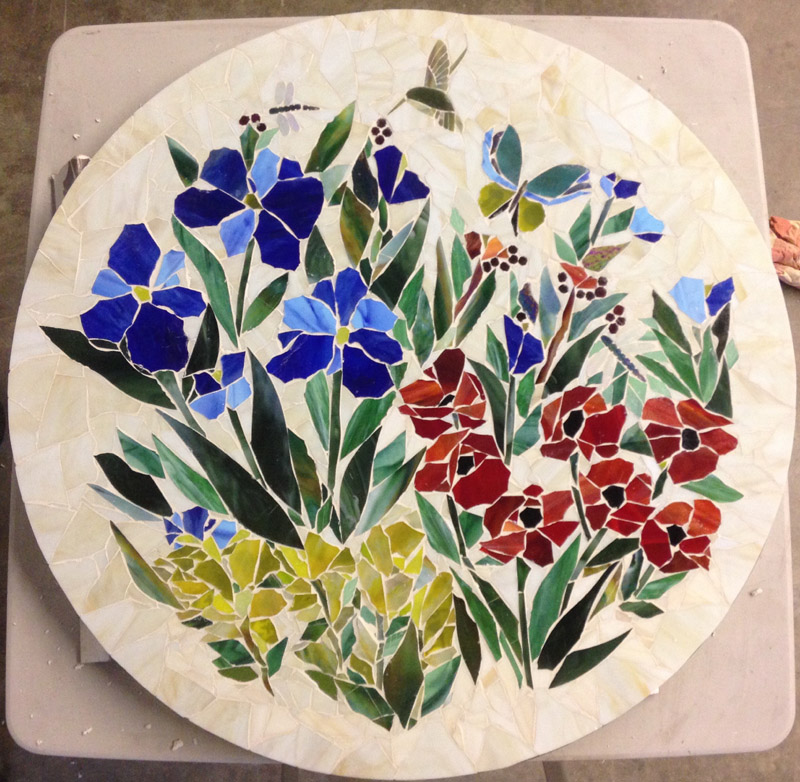 Mosaic Table Top Floral Motif Designer Glass Mosaics