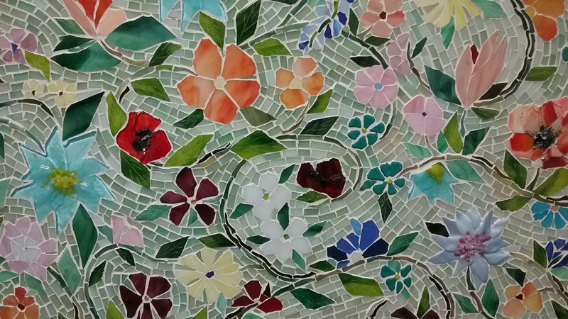 Mosaic Floral Backsplash Designer Glass Mosaics