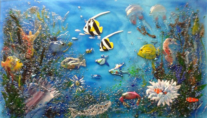 Sealife Glass Kitchen Backsplash