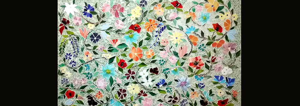 Mosaic Floral Backsplash
