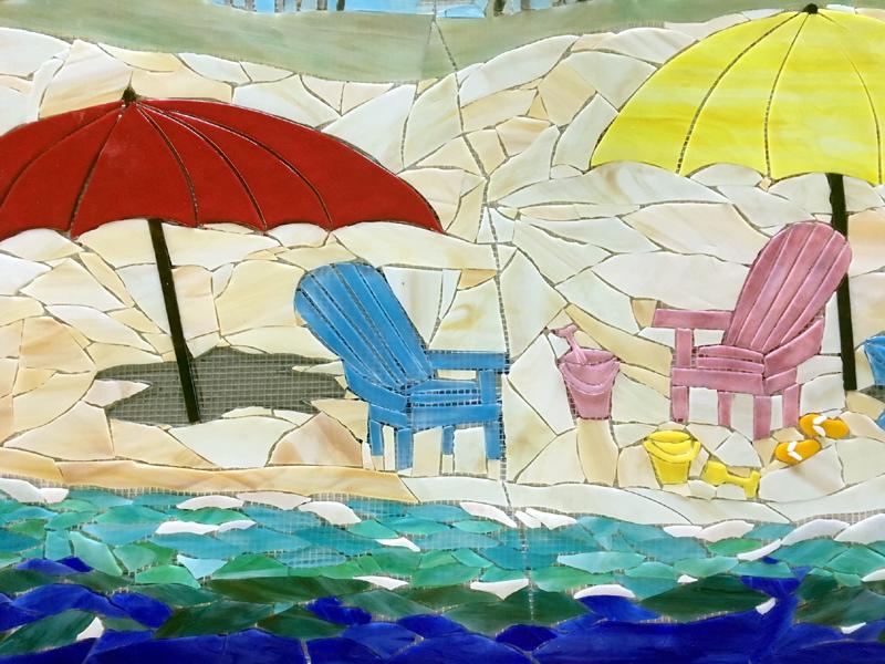 Beach Mosaic Mural Designer Glass Mosaics