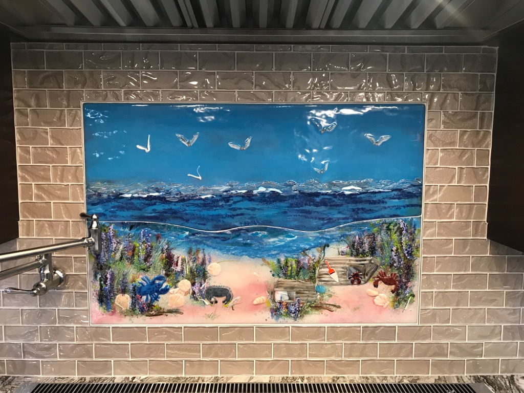Beach Scene Glass Mural