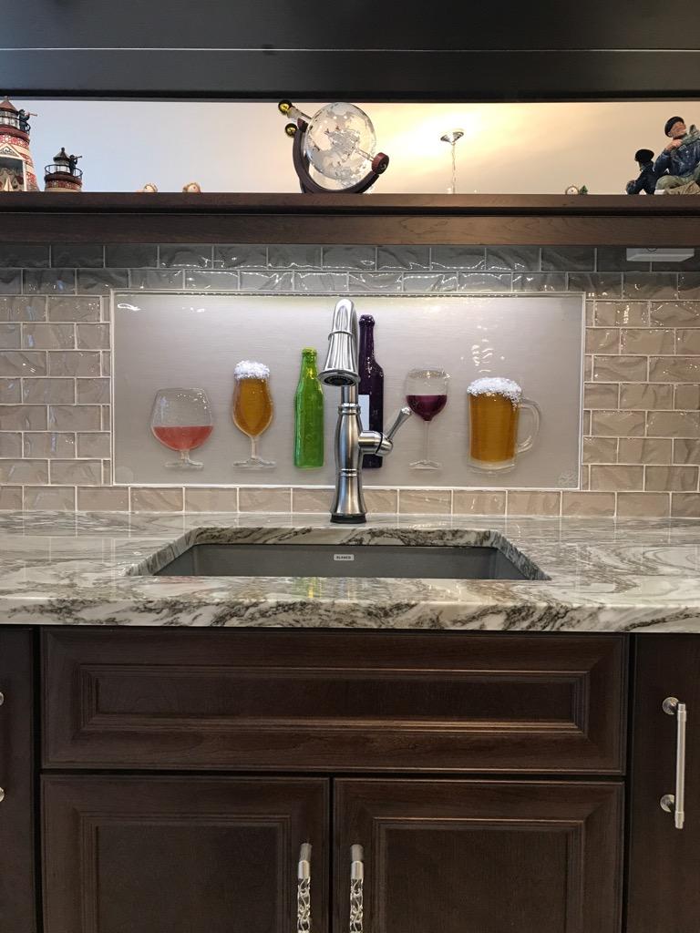 Home Bar Spirits Mural in Glass