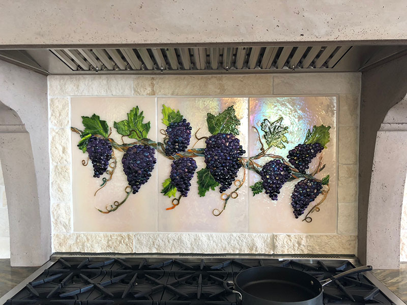 Glass Grapevine Kitchen Backsplash
