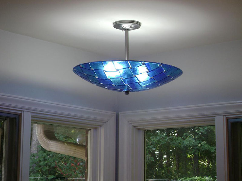 Blue/Lavender Fused Glass Chandelier
