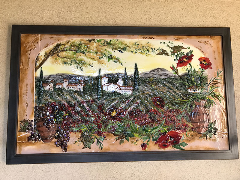 Italian Countryside Glass Mural