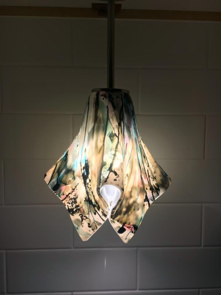 Peach Fused Glass Pendant Light
