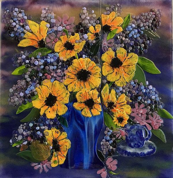 Fused Glass Vase of Flowers