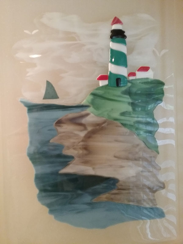 Fused Glass Lighthouse Mural