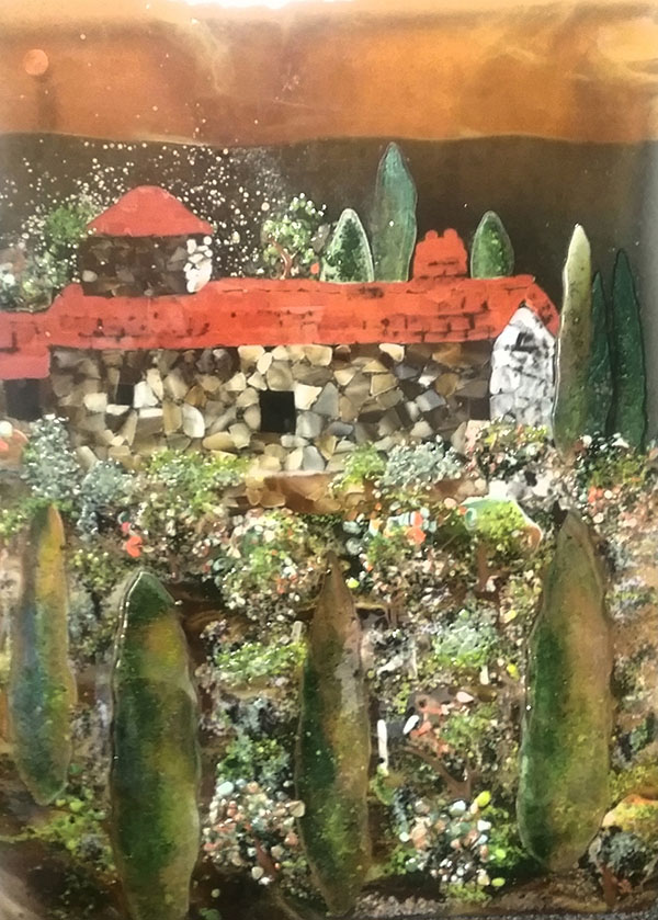 Tuscan Scene Fused Glass Mural