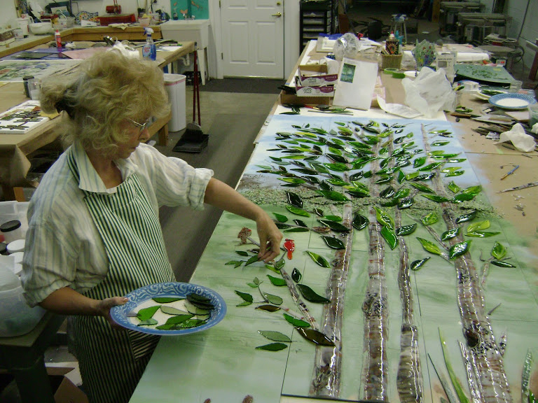 Birch Tree Mural in Fused Glass