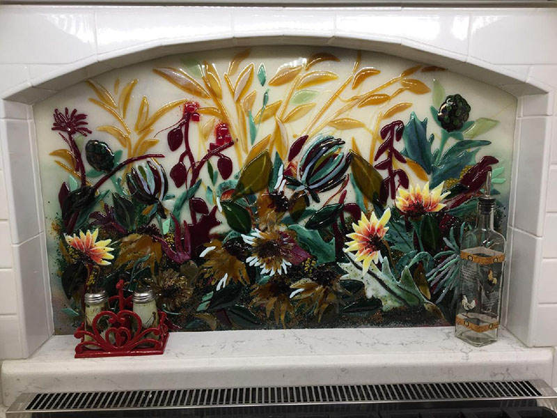 Fused Glass Abstract Floral Mural