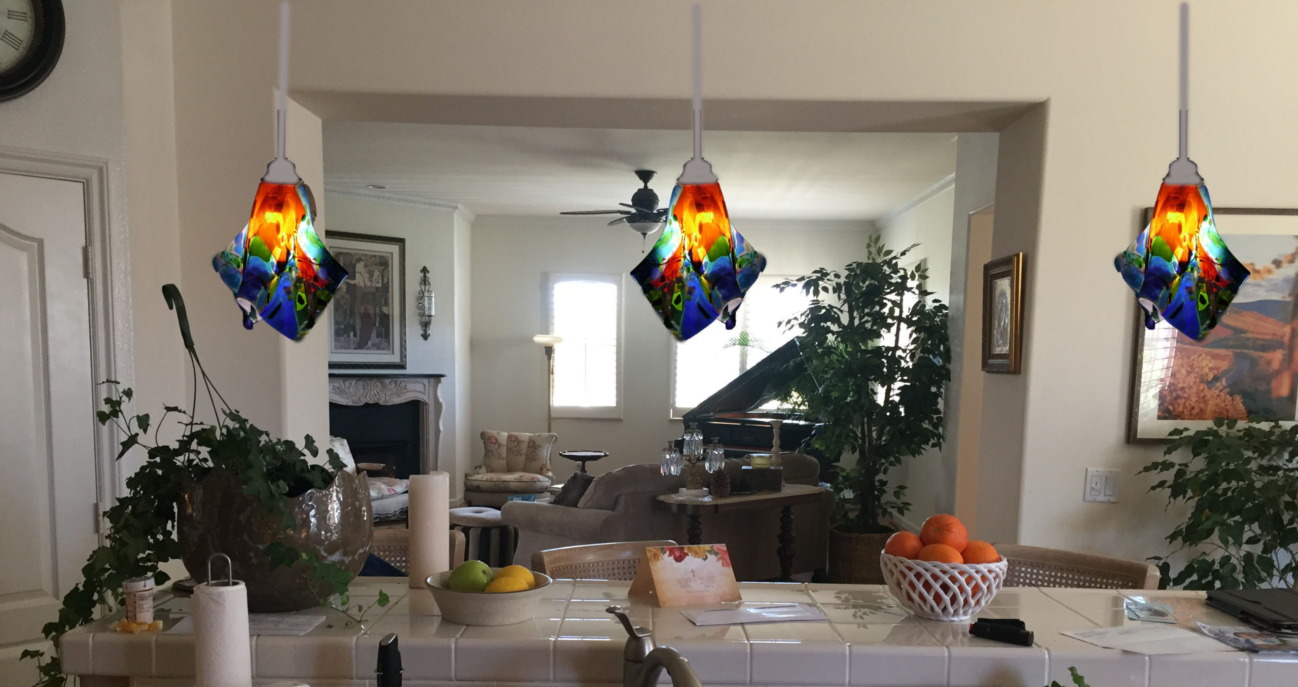 Colorful Glass Kitchen Pendant Lights
